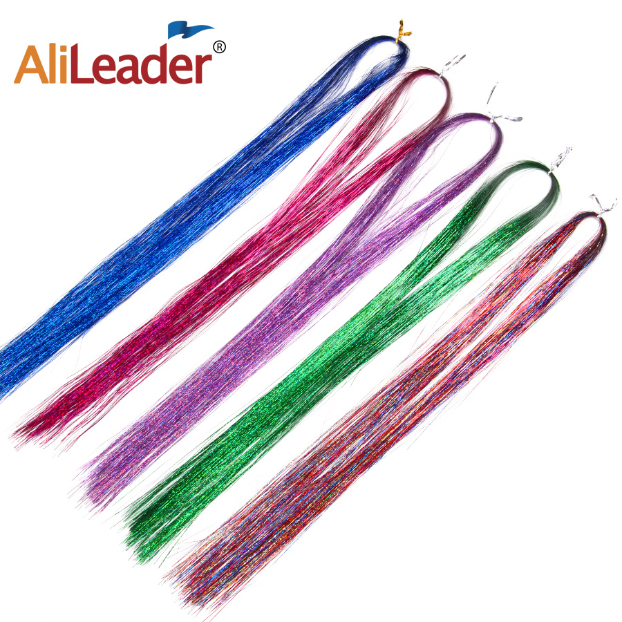 """36"""" 100 Strands Colorful Long Decoration Bling Rainbow Silk Hair Extensions Dazzles Sparkle Shiny Tinsel Blue Pink Purple Green 2"""