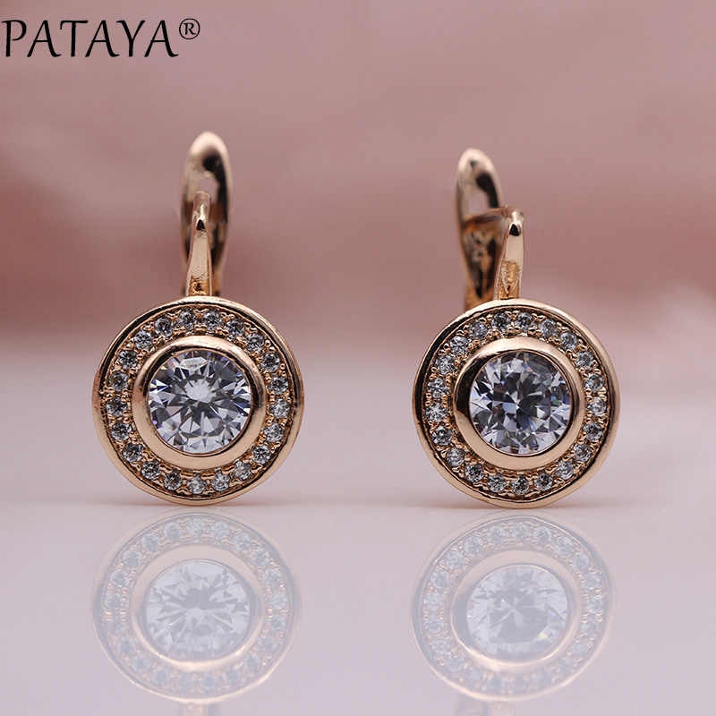 PATAYA New Arrivals 585 Rose Gold Love Carved Natural Zircon Big Dangle Earrings Women Hollow Wedding Party Fine Texture Jewelry
