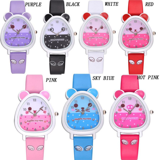 Lovely Animal Design Boy Girl Children Quartz Watch  Kid's Birthday Gift Kol Saati Horloge Kinderen Clock Children