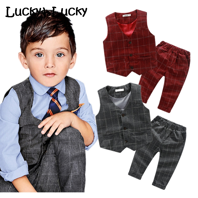 New kids clothes 2pcs/set boys clothes gentleman clothing sets wedding baby boy clothes vest+pants new arrival baby boy clothes sets plaid gentleman suit infant toddler boys vest pants children kids clothing set outfits 2 8 age