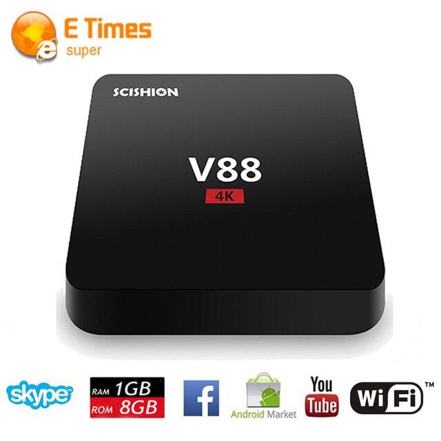 2016 Nuevo V88 Android 5.1 Receptor de TV 1080 P RK3229 Quad-Core 1G/8G TV caja de la película de la Ayuda 3D 802.11 b/g/n WiFi Smart Tv Set Top Box