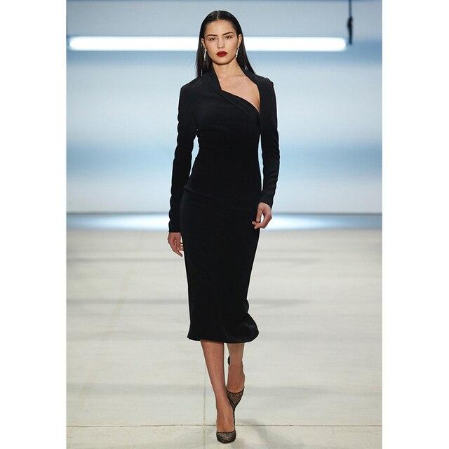 5fb22e90a Autunm negro vaina bodycon vestido largo asimétrico cuello Mediados de  pantorrilla sexy Club Mujeres vestido