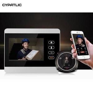 """Image 1 - ihome5 WiFi Wireless Digital Peephole Door Viewer 4"""" Front Door Peephole Camera Wifi Doorbell with Intercom or take picture"""