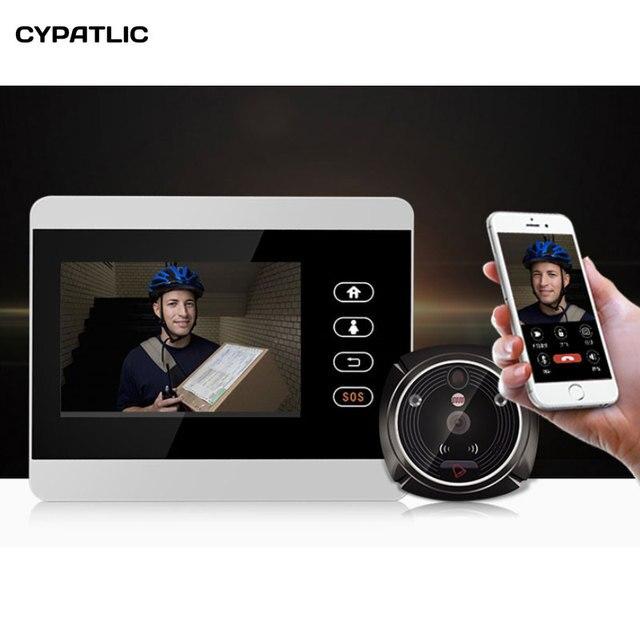"""ihome5 WiFi Wireless Digital Peephole Door Viewer 4"""" Front Door Peephole Camera Wifi Doorbell with Intercom or take picture"""
