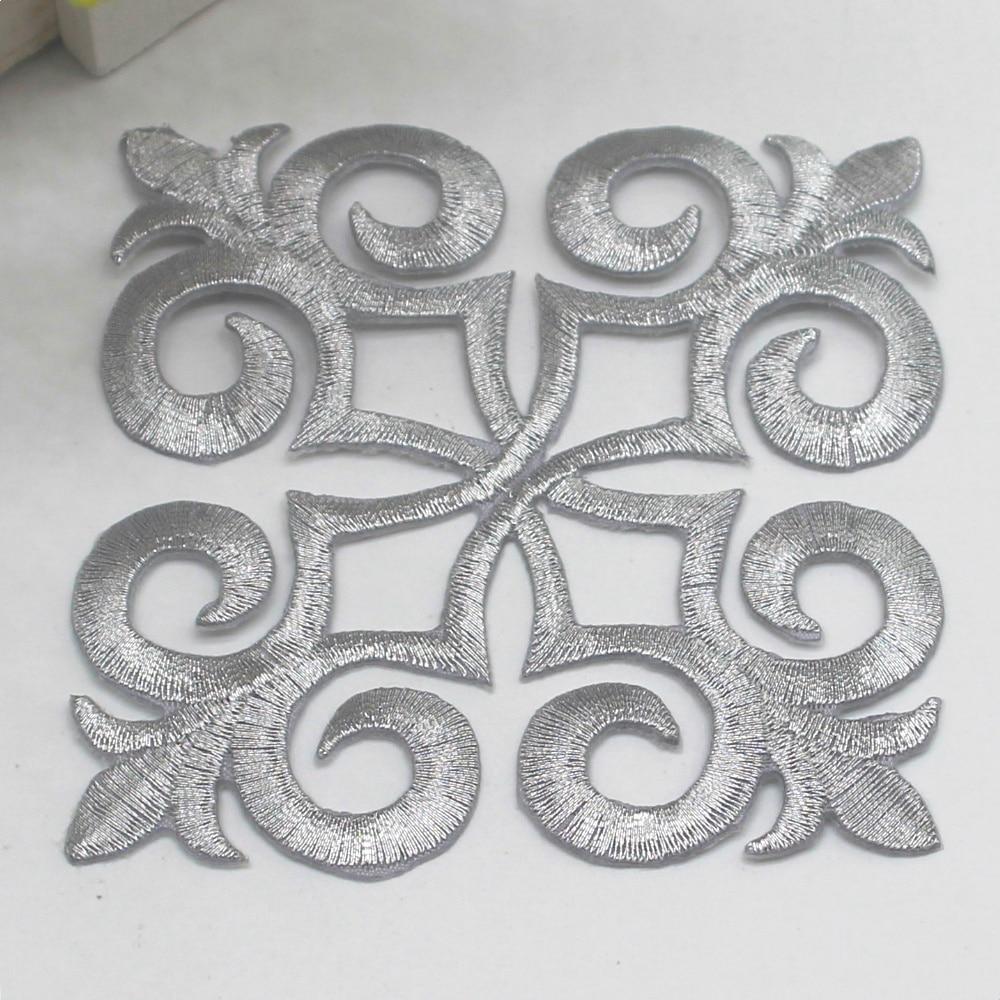 3-Pack, Iron on Silver Fleur De Lis Cross Applique Patch