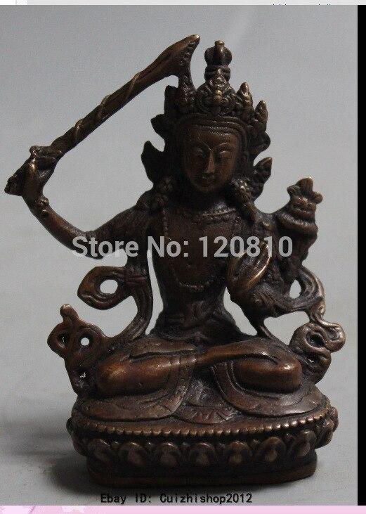 Chinese Tibetan Buddhism Bronze Copper Wenshu Manjushri Buddha Sword Statue