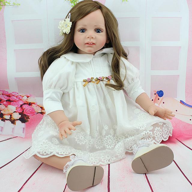 2015 Chegada Nova Presente de Natal Crianças Menina 60 CM Bonito Bebês Reborn Silicone Boneca