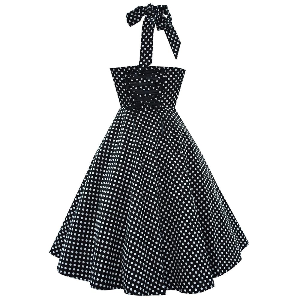 64e83bfb4f46b HimanJie Women Vintage 50s Rockabilly Audrey Hepburn Boat Neck Cherry  Printed Swing Dress Polka Dot 50s Vintage Rockabilly Dress