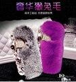 Moda fofo de lã quente pele de coelho caso de cristal para samsung galaxy s7 S6 borda Nota 5 A5 A7 J7 Bling Diamante Fox Cabeça Capa caso