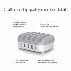 Image 3 - ORICO 5 Port USB Charger Station Dock with Phone Holder 5V2.4A*5 40W Max For Xiaomi Huawei iPhone and Tablet PC