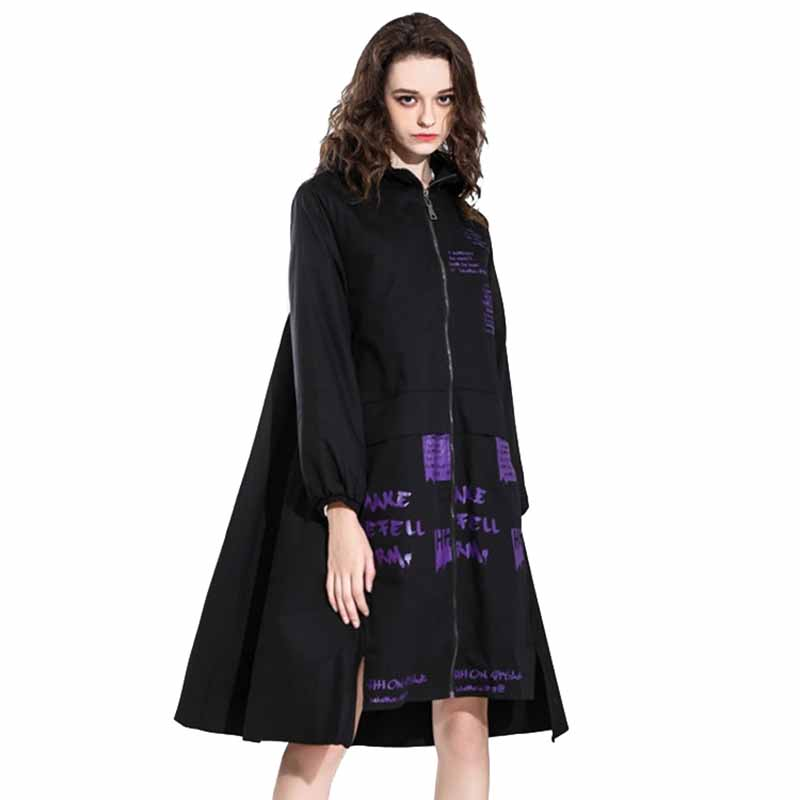 2019 New Fashion Large size Autumn   Trench   coat Women Hooded Irregular cotton Windbreaker Female Print zipper Casual   Trench   G531