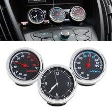 3 шт. автомобиля 4 см кварцевый гигрометр время часы температура термометр измеритель влажности автомобиль-Стайлинг новейшие автомобильные аксессуары