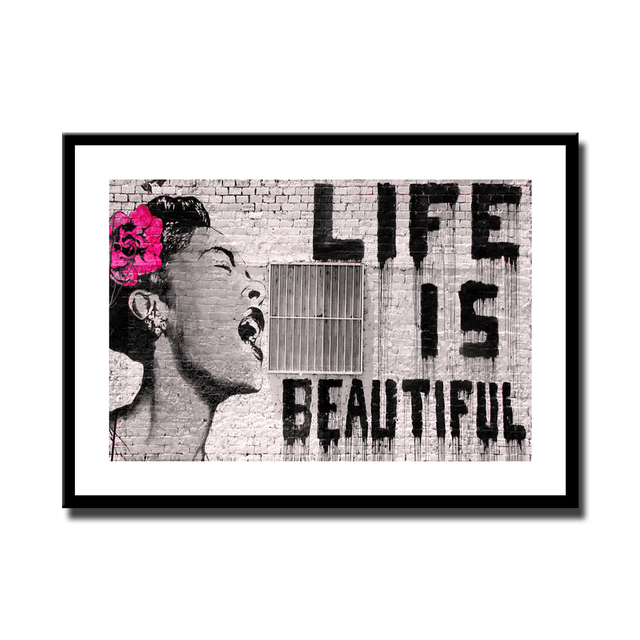 Street Graffiti About Life Is Beautiful Print Painting Poster For ...
