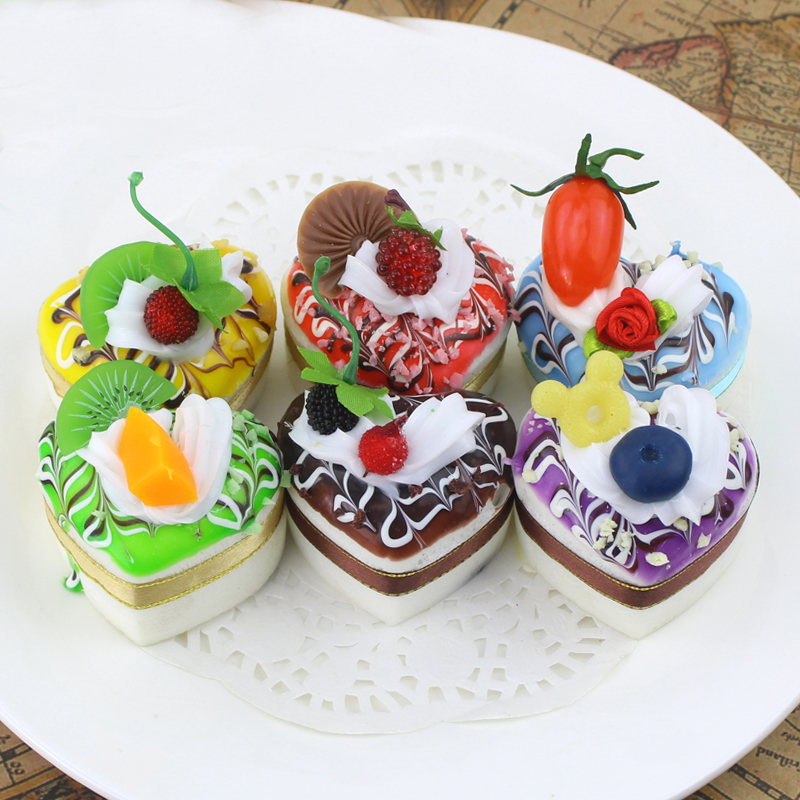 050 Simulation heart shaped ribbon fake cake love food model dessert fridge restaurant decorations 5 6cm in Artificial Foods Vegetables from Home Garden