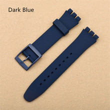 цена на Dark Blue 17mm 19mm Silicone Rubber Watch Band Straps Men Women Watches Swatch Black White Navy Rubber Strap plastic buckle