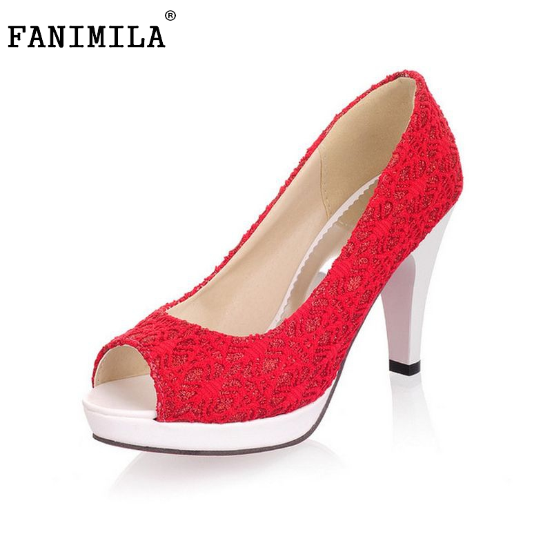 Ladies Stiletto High Heels Peep Toe Shoes Dress Shoes Women Wedding Lace Sexy Casual Slip-On Platform Pumps Size 31-43 PA00382 taoffen ladies stiletto high heels peep toe shoes shoes women wedding lace sexy casual slip on platform pumps size 31 43 pa00382