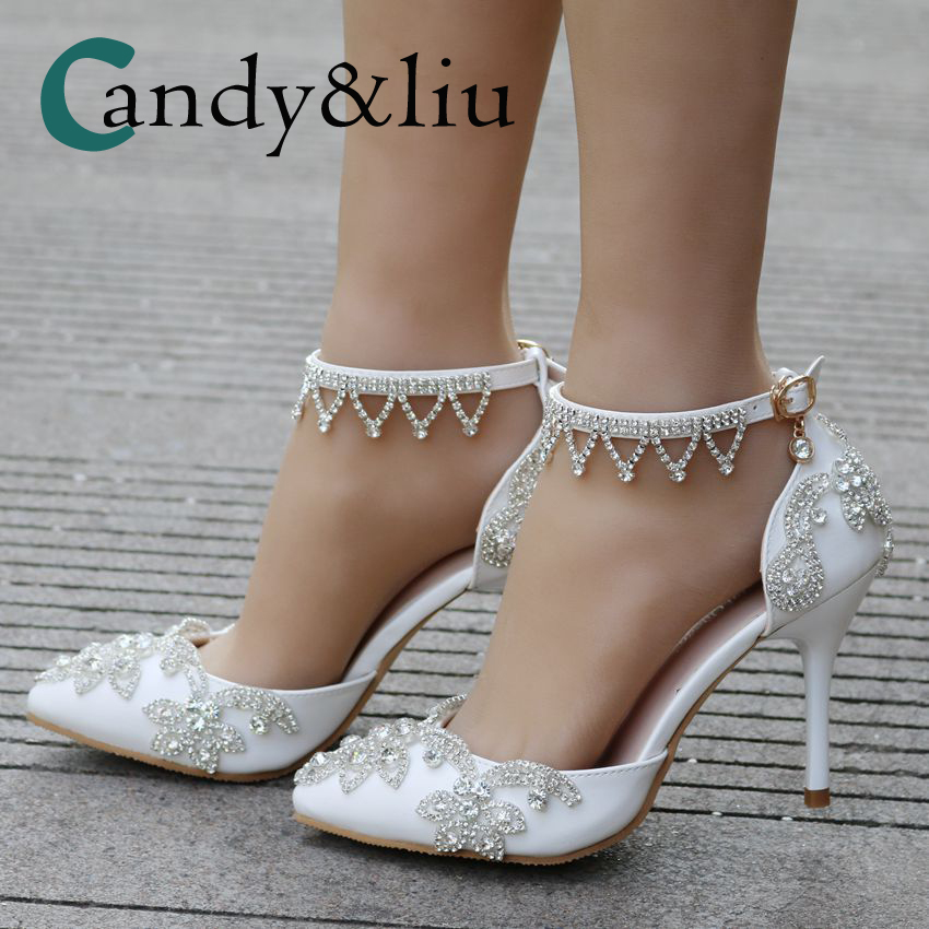 Crystal Flower Shoes Pointed Toe High Heel Women Sandals with Pearl Tassel Ankle Strap Open Side