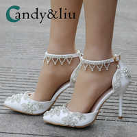 Crystal Flower Shoes Pointed Toe High Heel Women Sandals with Pearl Tassel Ankle Strap Open Side Pumps for Party Banquet Wedding