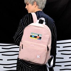 Image 3 - Sáng tạo và thực tế màu hồng và màu xanh hải quân nhung thêu ba lô cho các trường học và đi du lịch trong CẢNH series (VUI VẺ KIK)