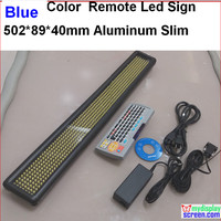 blue led sign, Programmable scrolling. semi outdoor/indoor,remote controller,rs232 control,502*89*40mm,7*60 pixel slim aluminum