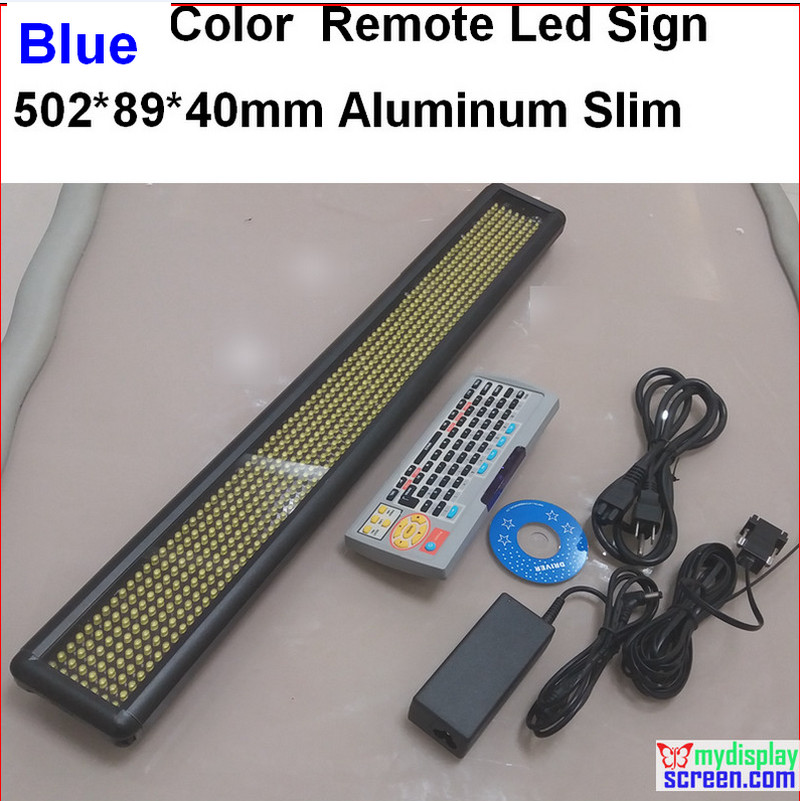 Blue Led Sign, Programmable Scrolling. Semi-outdoor/indoor,remote Controller,rs232 Control,502*89*40mm,7*60 Pixel Slim Aluminum