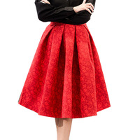 Autumn New Retro High Waist Skirt Elegant Ladies Jacquard Maxi Pleated Skirts Women Knee Length Saia