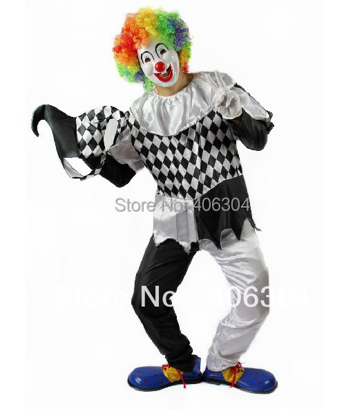 Free shipping,halloween adult clown costume, white and black clown clothes,trouses,mask,gloves,hat,wig,shoes