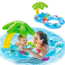 Inflatable Double Baby Swimming Ring Pool Float Toys With Flamingo Unicorn
