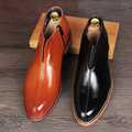 Only true love Men ankle pointed toe boots genuine leather zipper Slip on flats oxfords business dress shoes size:38-43 Yjn-407