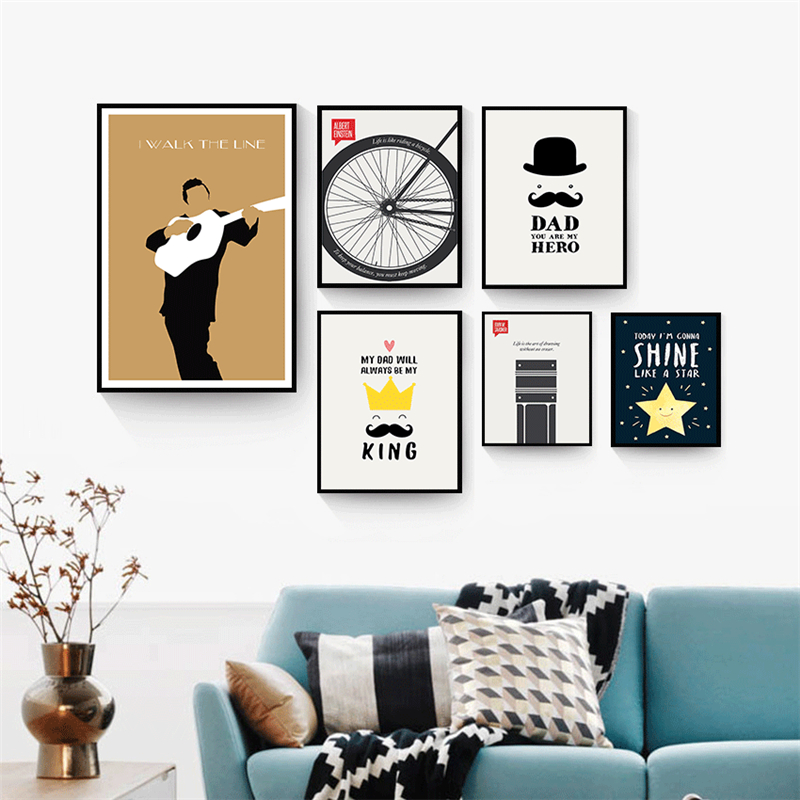 √HAOCHU Mijn Oude Man Dad Muur Picture Art Olie Poster Leven Quotes ...