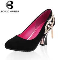 BONJOMARISA Best Quality Big Size 31 43 High Heels Crystals Spring Woman Pumps Elegant Date Party Women's Shoes Woman Footwear