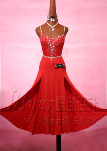 Image 4 - נוצץ Rhinestones אדום ריקוד לטיני שמלה עם אביזרי לנשים שלב ביצועים Cha Cha רומבה סמבה בפועל בגדי גברת