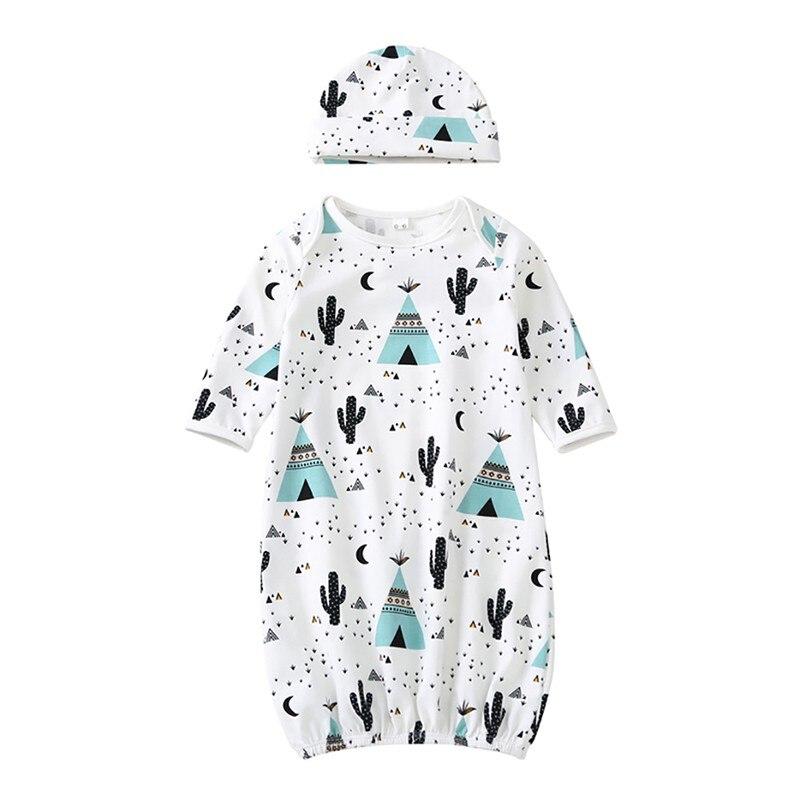 Frühling Herbst Baumwolle Casual Baby Pyjamas Sets Langarm Print Infant Baby Nachtwäsche Nacht Kleid + Hut 2 Stücke Schlafanzug