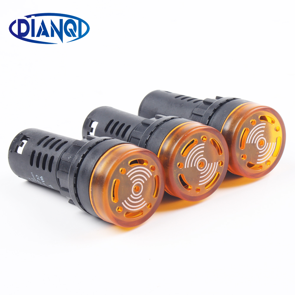 Free Shipping 1pc Colorful AD16-22SM 12V 24V 220V 22mm Flash Signal Light  LED Active Buzzer Beep Alarm Indicator