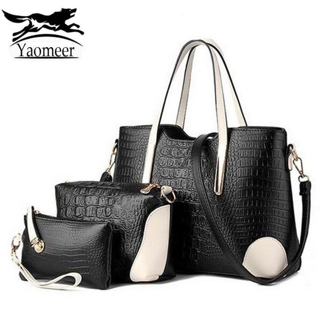 2017 Luxury Women Messenger Bags Sets Italian Leather Handbags Famous Brands Designer Purse Vintage Shoulder Bag