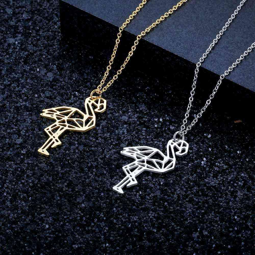 LaVixMia Italy Design 100% Stainless Steel Flamingo Necklace for Women Super Fashion Animal Pendant Necklaces Unique Gift JN024