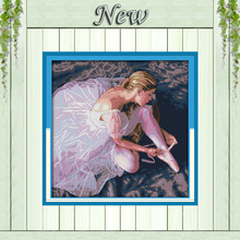 Ballerina girl beauty dance painting counted print on canvas 14CT 11CT unfinished DMC Cross Stitch kit Needlework Set Embroidery(China)