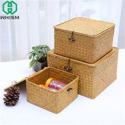 WHISM Seagrass Wicker Basket Cosmetic Holder Makeup Storage Box Jewelry Storage Basket Handmade Clothes Container Toy Organizer