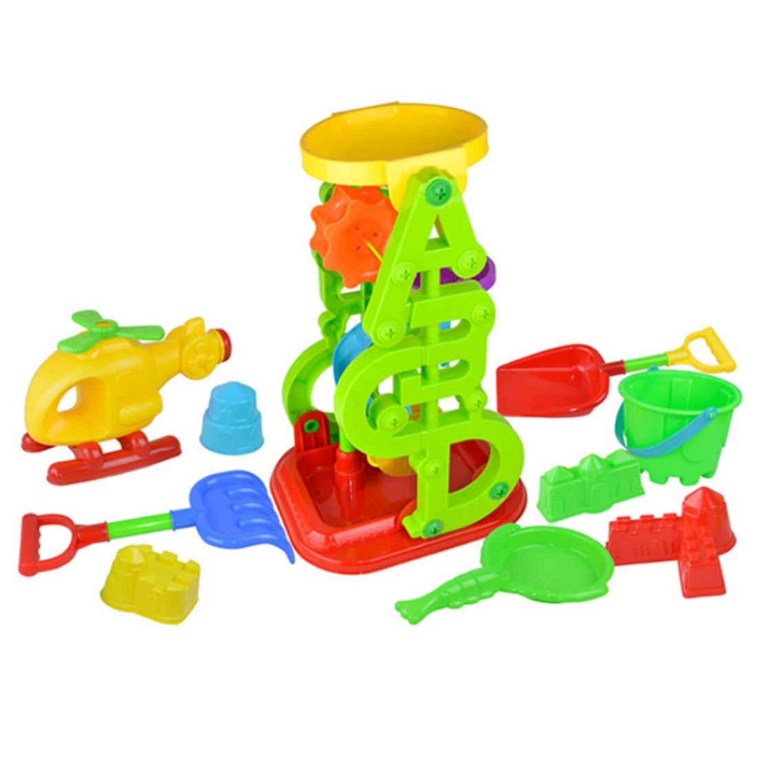 10 pièces plage sable plein air jouets pour enfants entonnoir hélicoptère jouet ensemble avec maille sac pour enfants-couleur aléatoire