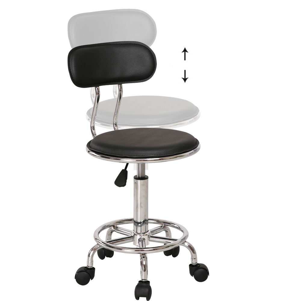 1pc Single Bar Stool With Wheels Synthetic 360 Degree Swivel Chair
