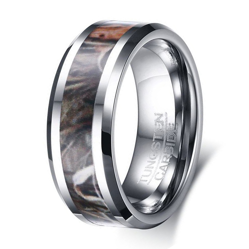 Fashion mens camo tungsten carbide ring wedding band brown for Camo mens wedding rings