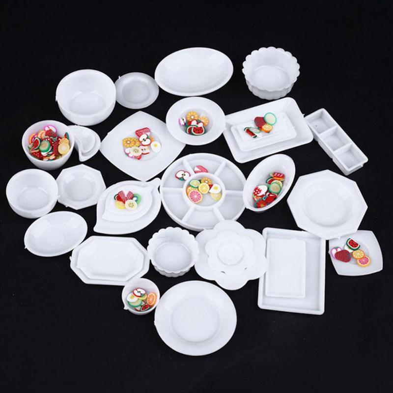 33Pcs Miniature Tableware Plastic Plate Dishes Set Mini Food The Goods For Kitchen