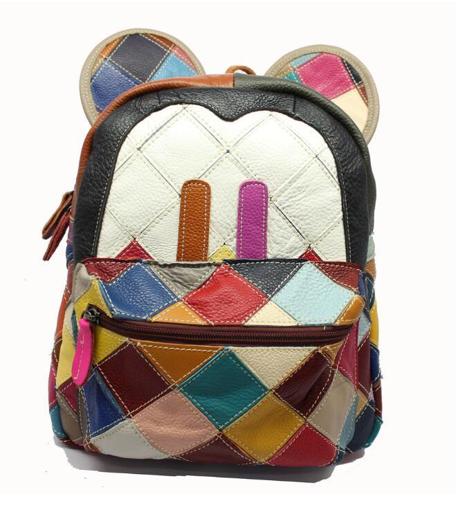 2018 femmes sac à dos en cuir de vache filles petits sacs à dos de voyage mignon grandes oreilles Mickey-souris Double sac à bandoulière école filles sacs