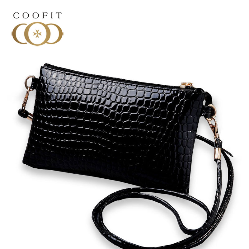 Coofit Female Casual Mini Messenger Bag PU Leather Crocodile Pattern Crossbody Shoulder Bag Coin Purse Clutch Purse And Handbags