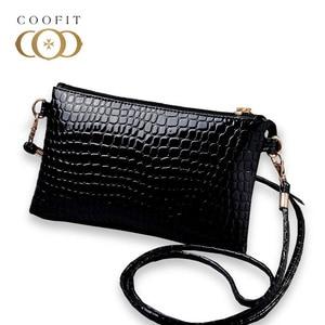 Coofit Female Casual Mini Messenger Bag PU Leather Crocodile Pattern Crossbody Shoulder Bag Coin Purse Clutch Purse And Handbags(China)