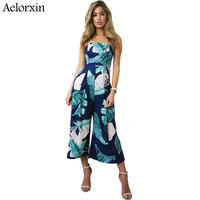 Aelorxin 2017 Women Jumpsuit Summer Sexy Off Shoulder Wrapped Chest Digital Printing Women Rompers Wide Leg