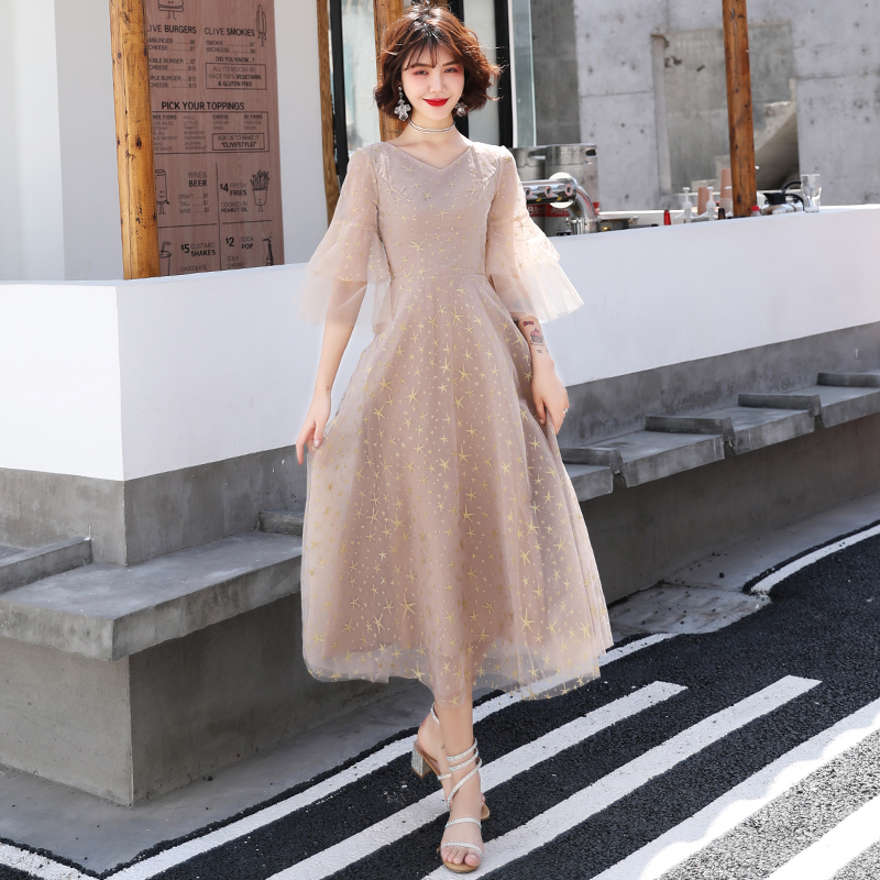 Plus Size Evening Dresses 2019 Elegant V-Neck Half Sleeves Tulle Formal Evening Gown Party Dress Robe De Soiree LF438