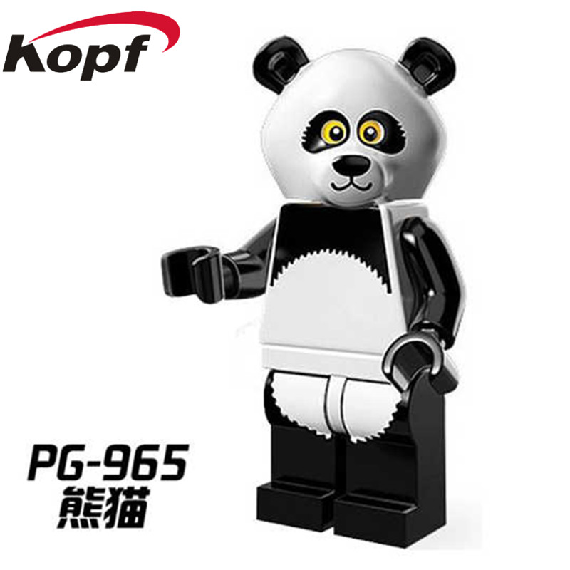 Single Sale Super Heroes Panda Man Penguin Boy Shark Suit Guy Cute Animal Bricks Action Building Blocks Toys for children PG965 single boy
