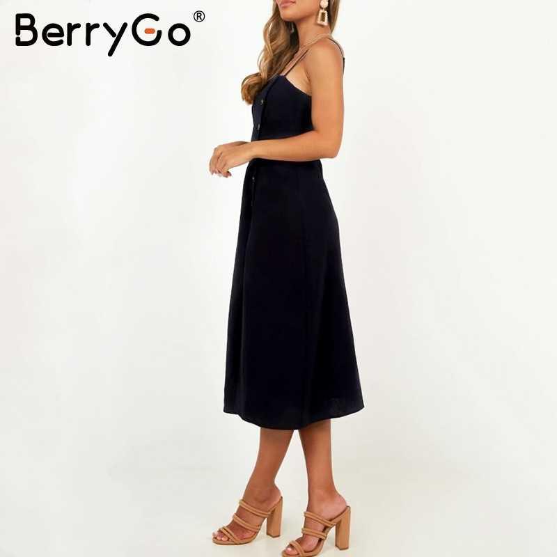 Simplee тонкие бретельки платье элегантное, миди на пуговицах с разрезом и высокой талией, женские летние платья с вырезом лодочкой; Черная Женская vestidos