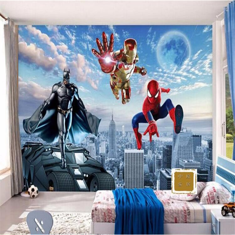 Online buy wholesale batman wall murals from china batman for Batman bedroom wall mural